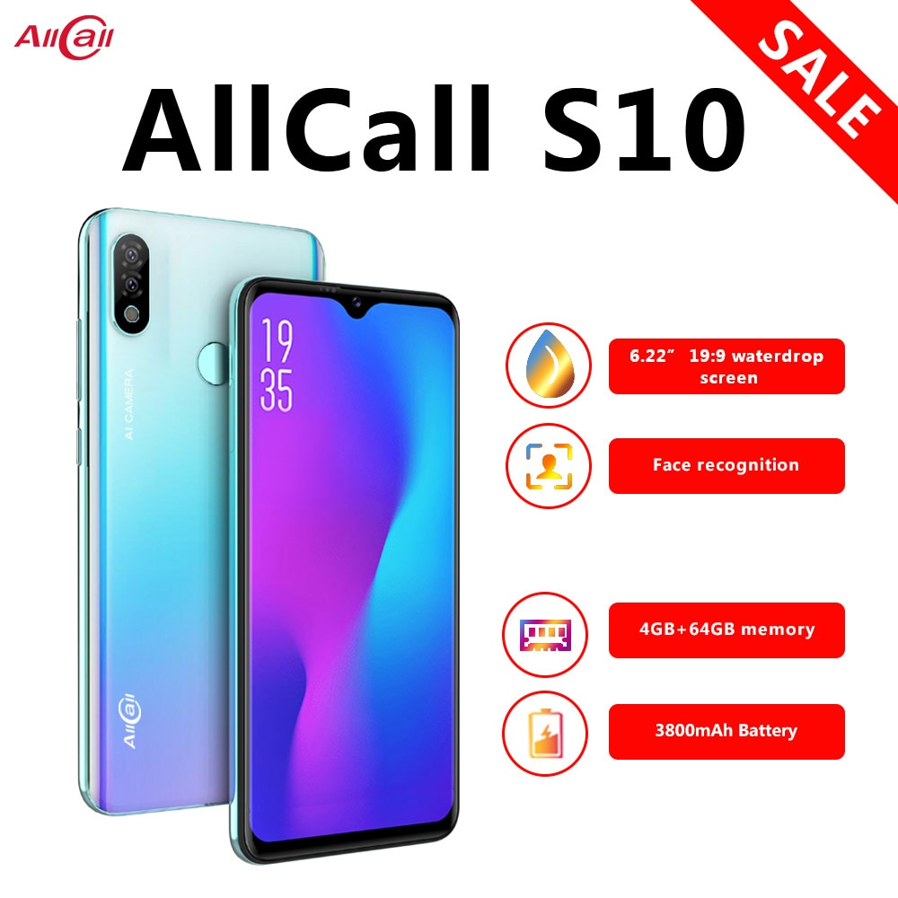 Version mondiale Allcall S10 Smartphone Helio P23 4 go + 64 go Octa core 16MP double caméra 6.22