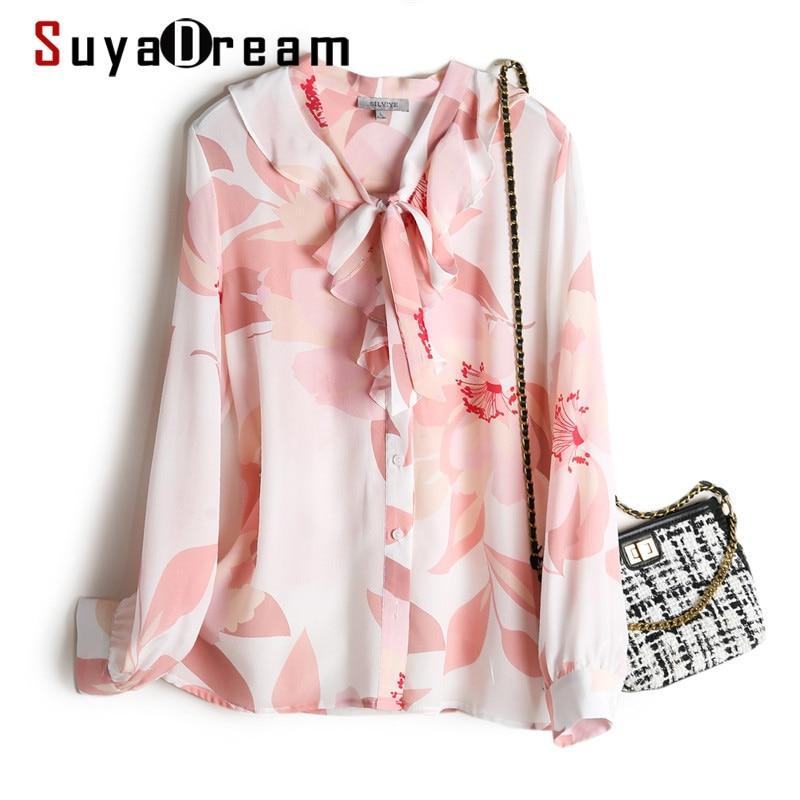 Рубашка SuyaDream женская с принтом, шелковая блузка из 100% шелка и крепа с длинными рукавами, розовая блузка с воротником-бантом, рубашка на весн...