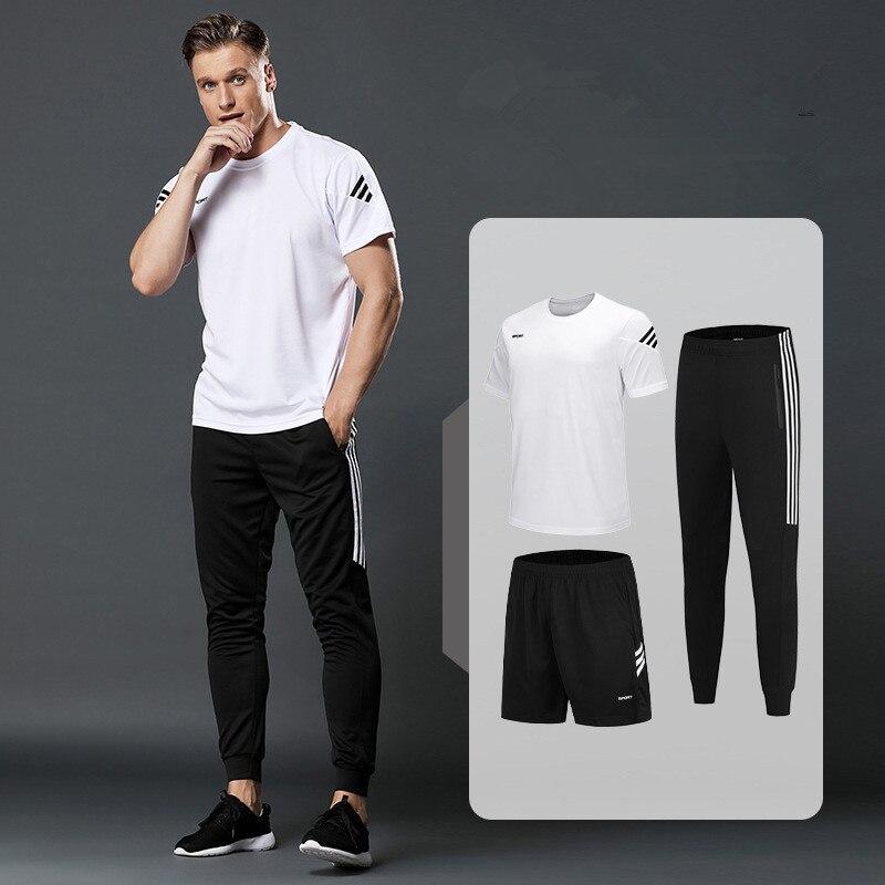 Conjuntos de t-shirts dos homens 3 pçs/set correndo shrits + calções esportivos calças de jogging dos homens terno do esporte dos conjuntos do ginásio da aptidão