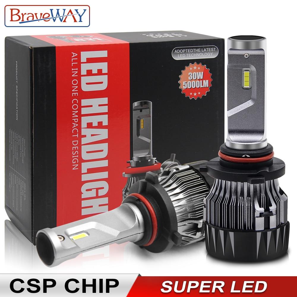 BraveWay супер светодиодный фар H4 H7 H11 светодиодный лампы для автомобиля 12V 9005 HB3 9006 HB4 9012 HIR2 H4 светодиодный лампы для авто лед лампы CSP чип светоди...