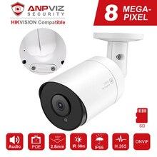 Hikvision-caméra IP Compatible avec Anpviz PoE   Caméra de Surveillance vidéo 8 mp H.265, caméras dextérieur, 2.8mm, télécommande Onvif, NAS, Audio micro