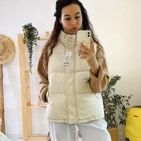 muyogrt 2021 winter women vest coat solid turn down collar sleeveless parka thicken warm zipper padded vest jacket waist coat