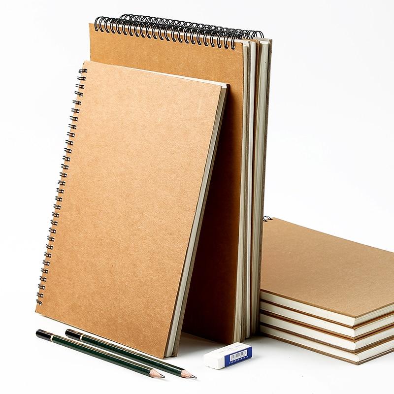 A3/A4 Spiraal Schetsboek Voor Tekening Kraft Cover Blank Sketch Pad Wirebound Tracking Papier Aquarel 50 Vellen 16K