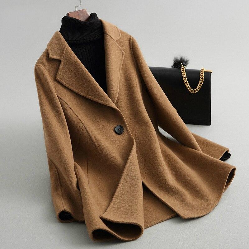Abrigo de lana informal para mujer, abrigos Color Camel de lana de...