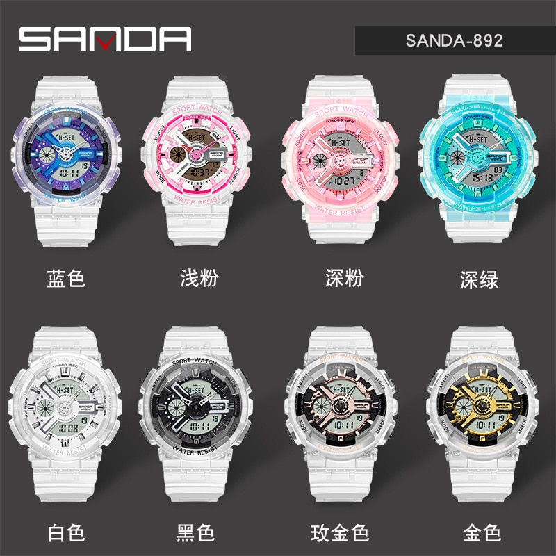 Waterproof multifunctional luminous sports dual-display electronic watch Women Watches Womans Watch Watches enlarge