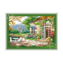 Romantic backyard garden cross stitch kit 14ct 11ct count printed canvas stitching embroidery DIY handmade needlework