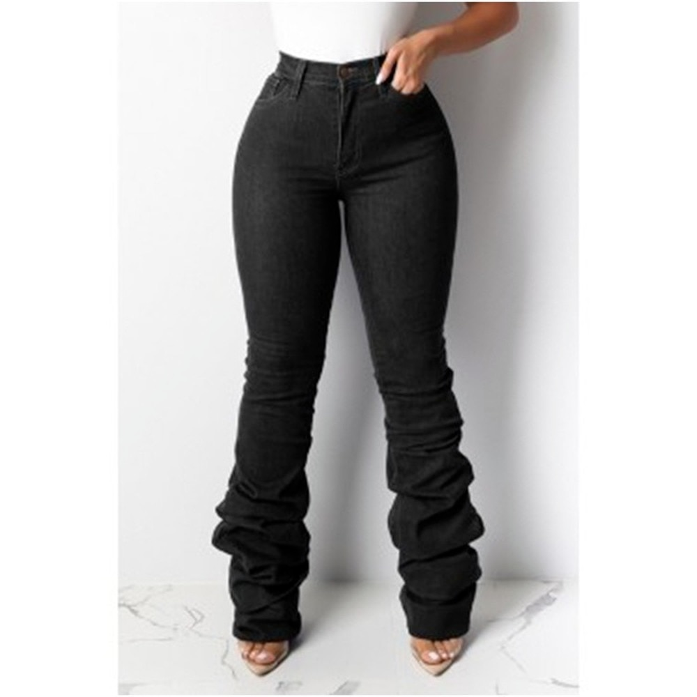 Женские брюки, женские джинсы, плиссированные джинсовые брюки со средней талией, джинсы для мам, 2021, джинсы, женские черные джинсы