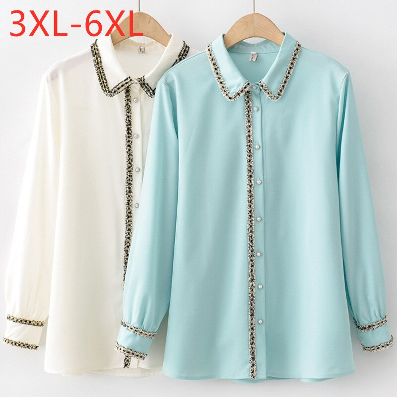 New Ladies Spring Autumn Fashion Plus Size Tops For Women Large Blouse Long Sleeve Loose Casual Green Shirt 3XL 4XL 5XL 6XL