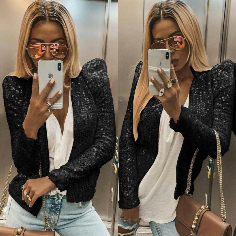 Street Style Women Blazer Slim OL Suit Sequin Solid Shiny Ladies Casual Long Sleeve Jacket Coat Tops