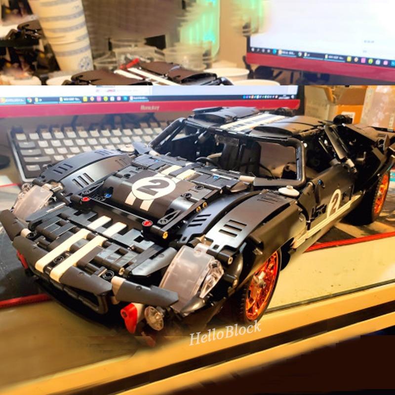 W magazynie Technic seria GT40 ROADSTER MK I 1967 US samochód wyścigowy pojazd 3D Model cegły MOC-33807 klocki MOC-33807 23021