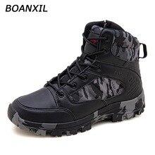 BOANXIL 2022 Men Seasons High Top Anti-Slip Male Shoes Outdoor Trekking Shoes Durable Military Tacti