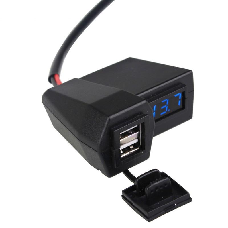 3.1A Мотоцикл аксессуары для автомобильного зарядного устройства Dual USB Автомобильное зарядное устройство прикуривателя вольтметр Дисплей В...