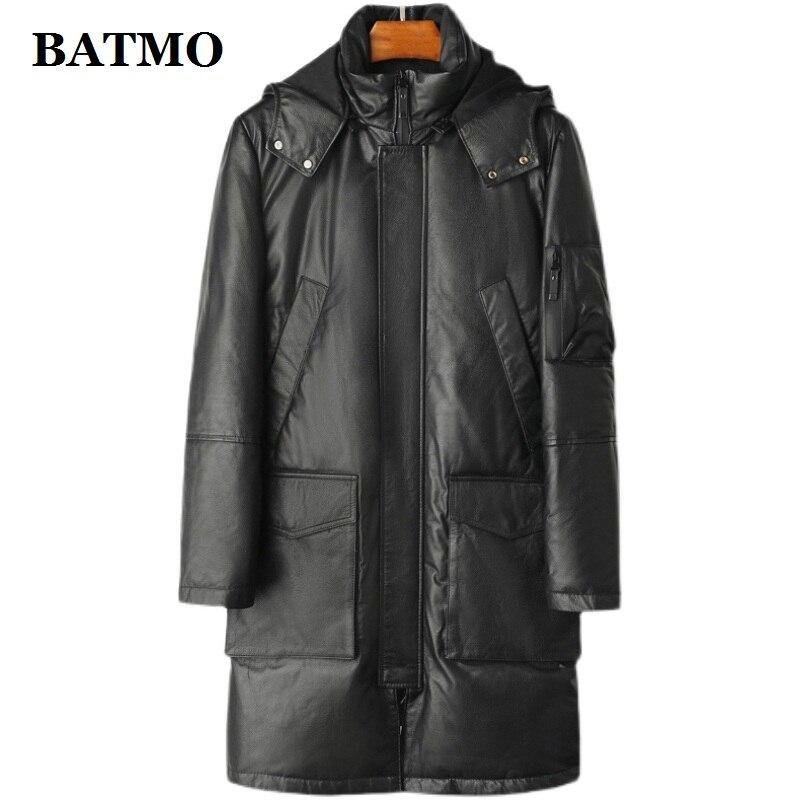 BATMO 2021 وصل حديثا شتاء جودة عالية جلد طبيعي جاكت مزود بغطاء للرأس, 90% وايت دك داون جاكت مزود بغطاء للرأس, w103