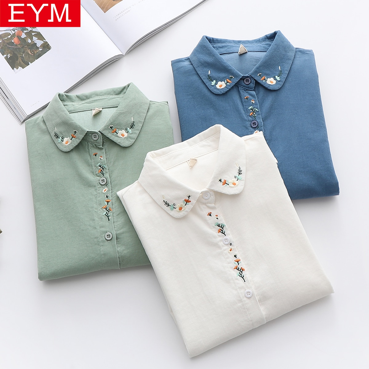 Fresh Floral Embroidery Collar Corduroy Shirt Women 2021 Spring New Long Sleeve Women's Tops And Blouses 100%Cotton Lady Clothes