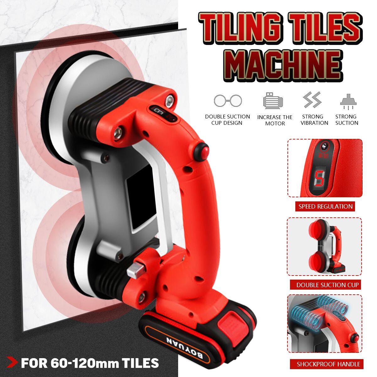Máquina de azulejos de 60-120mm, azulejos, vibrador, ventosa, ajustable, portátil, automático, suelo, vibrador, herramienta de nivelación con batería