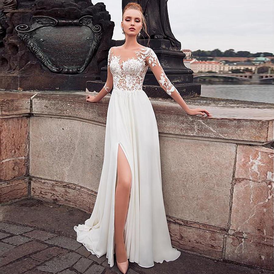 Vestido de novia de gasa transparente con escote y abertura frontal, manga...