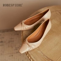 robespiere 2021 new womens comfortable middle heel sexy leather handmade womens single shoes minimalist style design a21