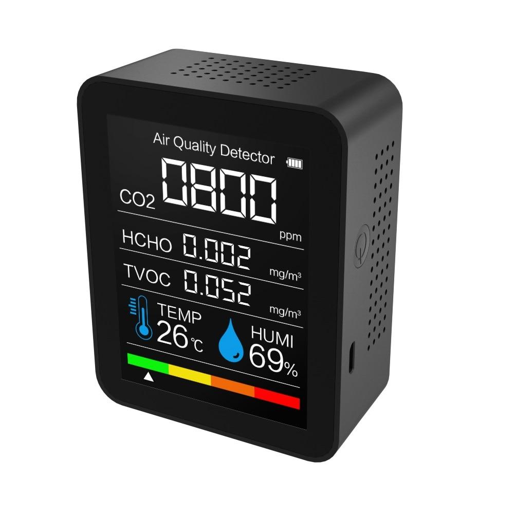 Medidor de Dióxido Qualidade do ar Carbono Sensor Monitor Analisador Tvoc Formaldeído Hcho Detector Temp Humi Analisadores Gás 5 In1 Co2