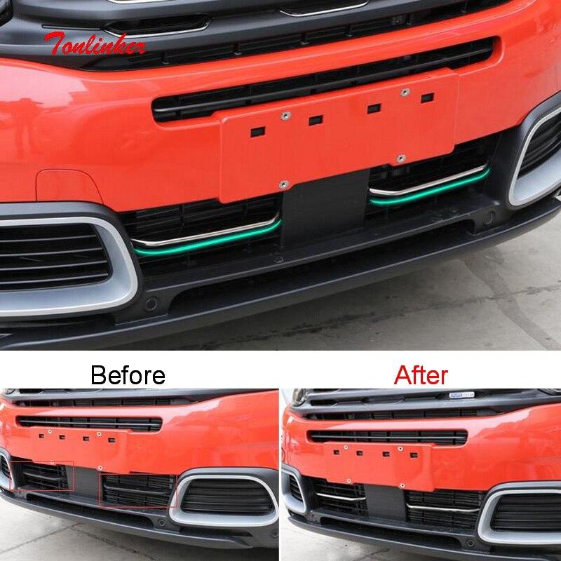 Tonlinker exterior corrida grills capa adesivos para citroen c5 aircross 2017-19 estilo do carro 2 pçs capa de aço inoxidável adesivos