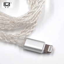 KZ Lightn ing Dock câble 2Pin/MMCX connecteur plaqué argent câble utilisation pour SE846 KZ ZS4/ZS6/ZSA/ED16 ZSN/ZST/ES4/ZS10/AS10/BA10