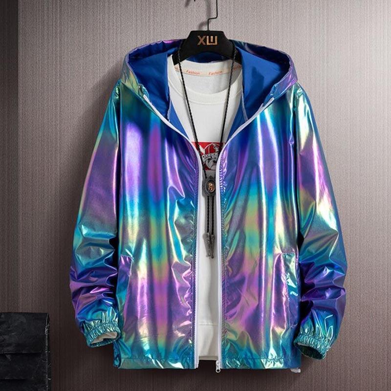 Thin Section Colorful Shiny Men'sReflectiveJacket,LadiesWindbreaker Casual Hip-hop Couple Coat Jacket Streetwear HoodedJacket
