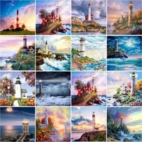 ruopoty painting by numbers frameless 40x50cm bay lighthouse oil painting picture by numbers on canvas paint numbers