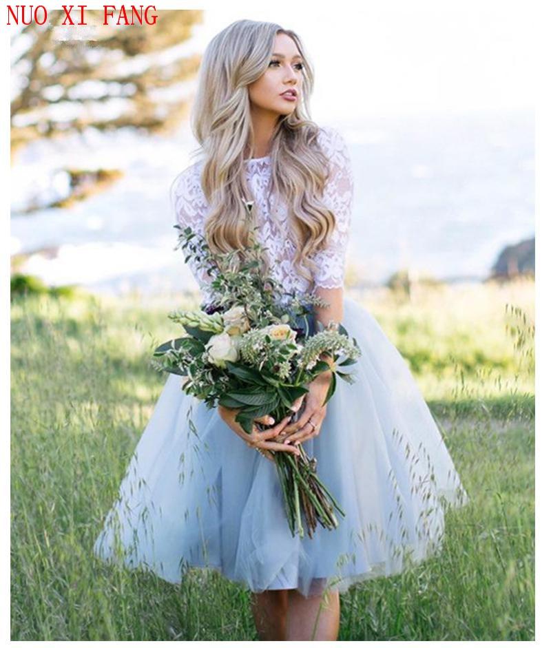 Princesa media manga para boda Vestido hasta la rodilla vestido De novia dos piezas De encaje superior playa Informal vestido barato bata De Mariee 2020