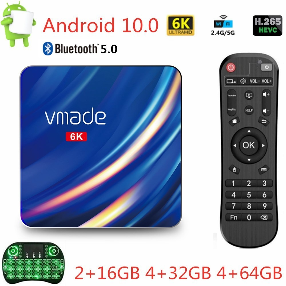 2020 Newest Smart TV Box Android 10 16GB 32GB 64GB Ultra HD 6K H.265 1080P Media Player 2.4/5G WiFi