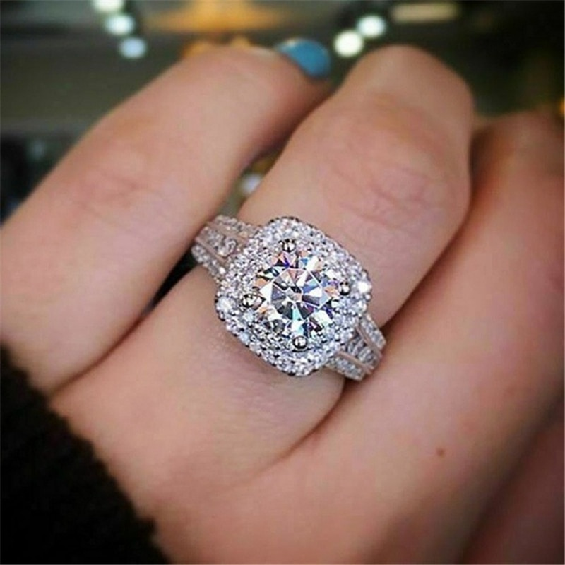 14K White Gold Natural 2 Carat Moissanite Ring for Women Anillos Bizuteria Wedding Bague Gemstone White Topaz Jewelry Rings Box