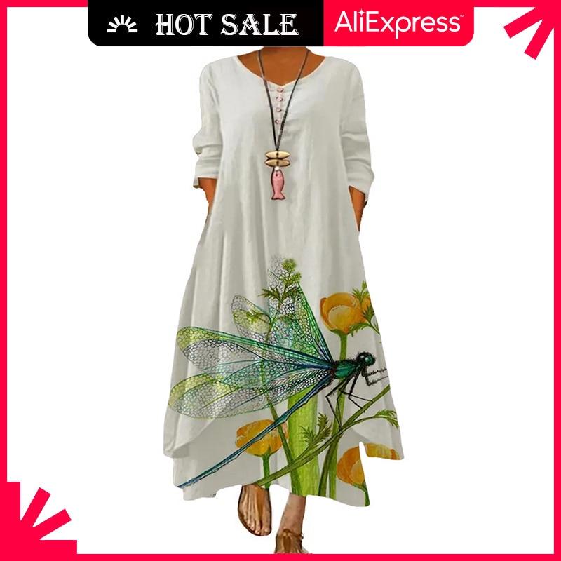 MOVOKAKA Spring Summer Long Dress Robe Long Sleeve Dress Party Dresses Women Casual Sundress Vintage