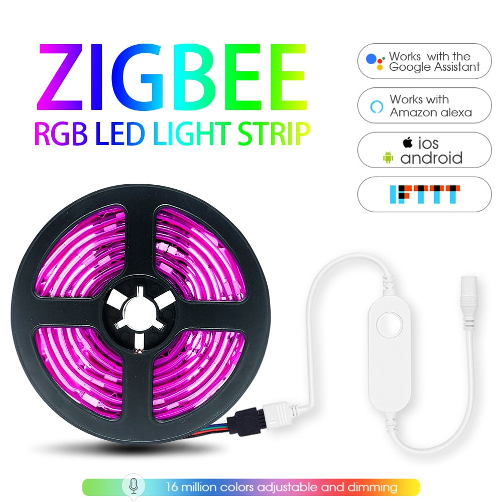 Smart RGB Light Strip 5m Kit with Zigbee LED Controller APP Voice Control Work with Alexa & SmartThi