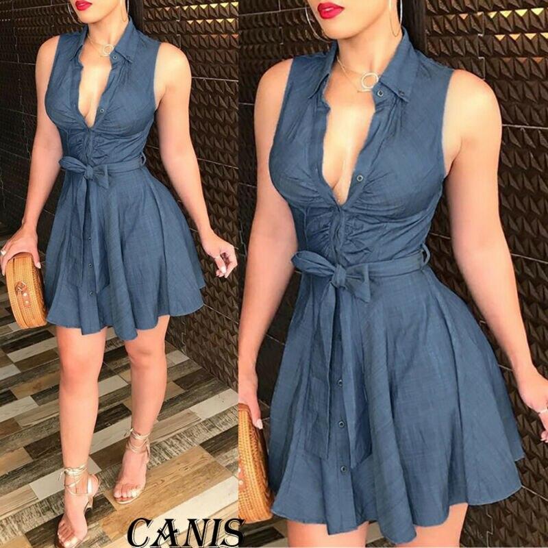 2020 verão moda das mulheres sem mangas v pescoço vestido faixas império a linha curto mini vestidos sexy bodycon club wear vesdio