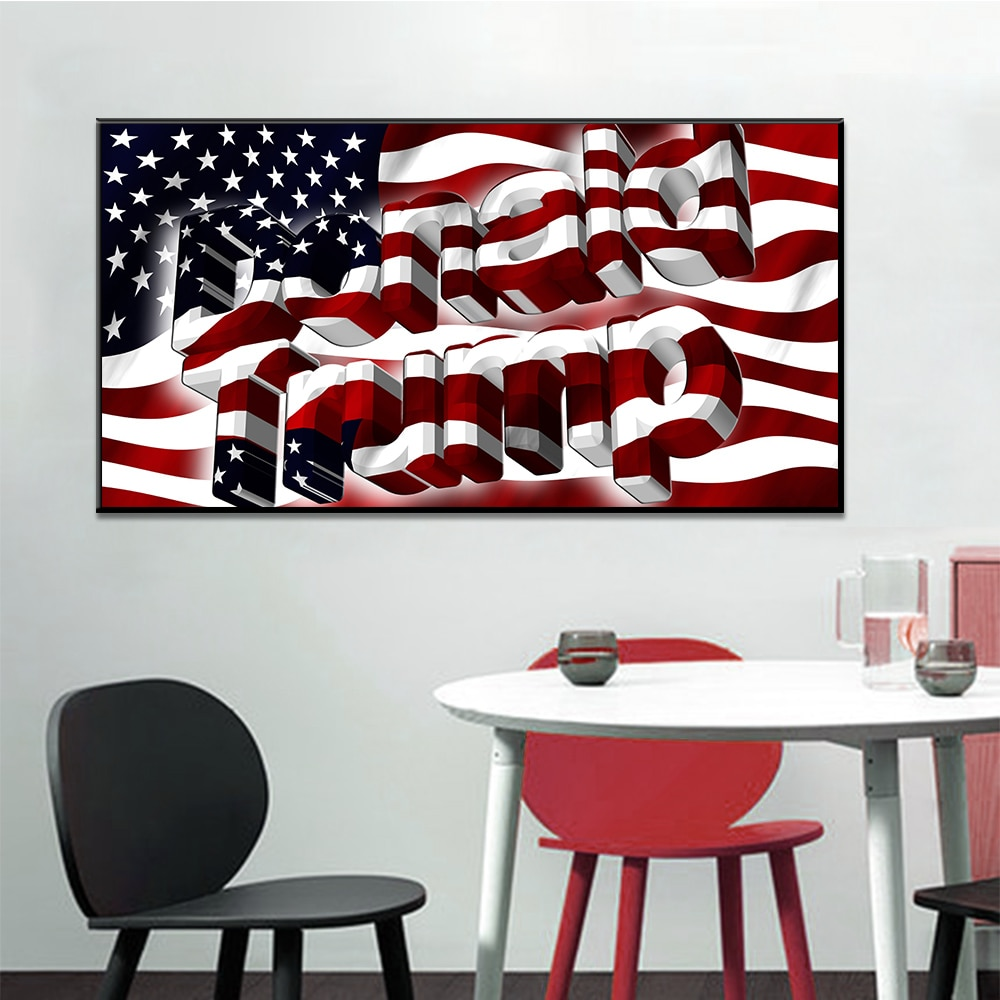 Venta caliente decoración del hogar pintura al óleo sobre lienzo arte de la pared decoraciones de pared lienzo, Bandera de merican Banner Donald Trump