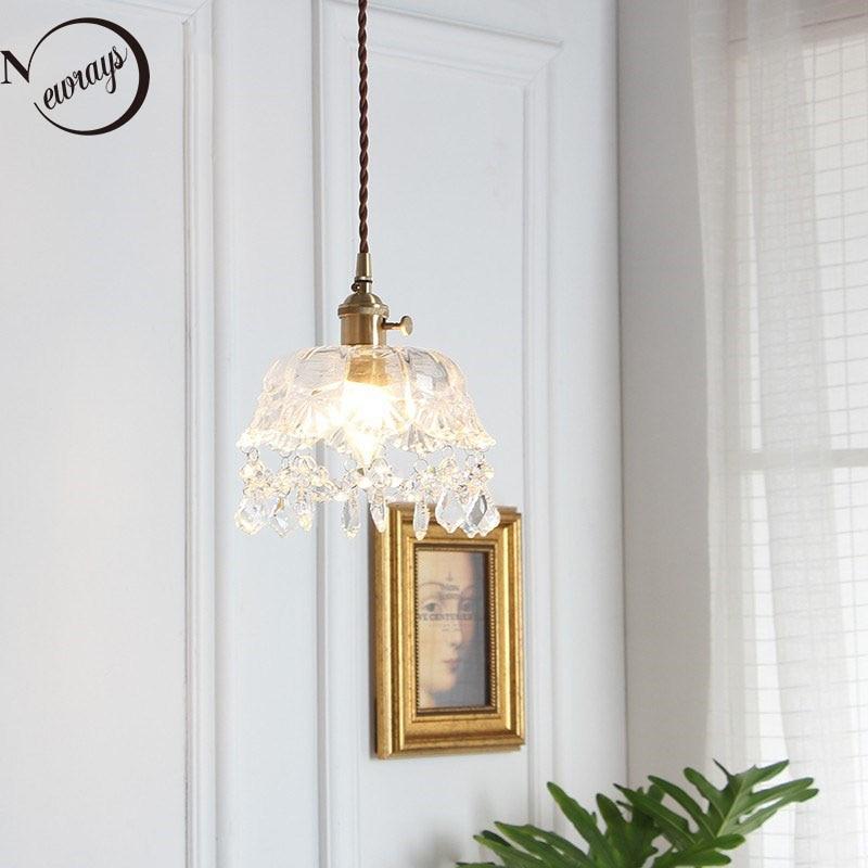 Nordic latão pingente de vidro lâmpada moderna pequena coroa pingente luzes led e27 220v decoração lâmpada pendurada para café quarto cabeceira