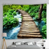 wooden bridge in the forest waterfall scenery tapestry wall hangings landscape decoration for bedroom room decor art tapestries