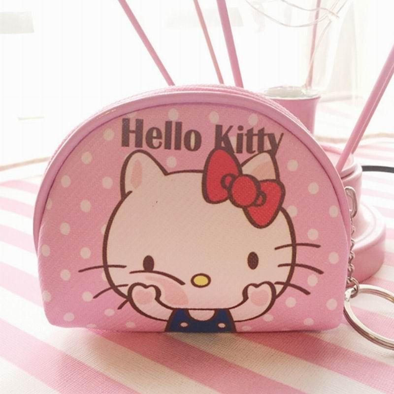 Olá Kitty saco de MÃO Da Lona Coin Purse & Wallet BAG Bolsa; Corrente Chave do Bolso Mulheres Maquiagem SACO Titular Bolsa