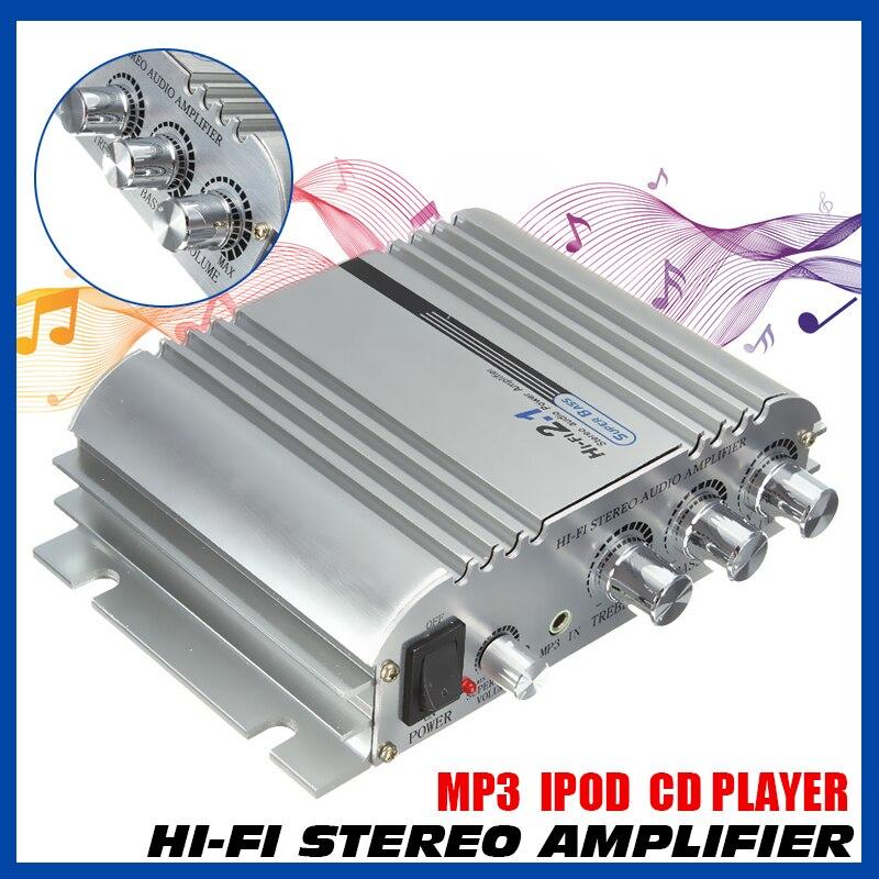 Audew 12V Hi-Fi стерео аудио 2 + 1 CH супер бас мотоцикл музыкальный усилитель AMP автомобиль дома легкий алюминиевый корпус 161x136x43мм