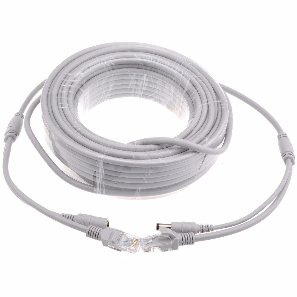 5M/10M/20M/30M Optional 2.1mm/5.5mm Jack RJ45 + DC Power Extension Ethernet CCTV Cable For IP Cameras NVR System enlarge