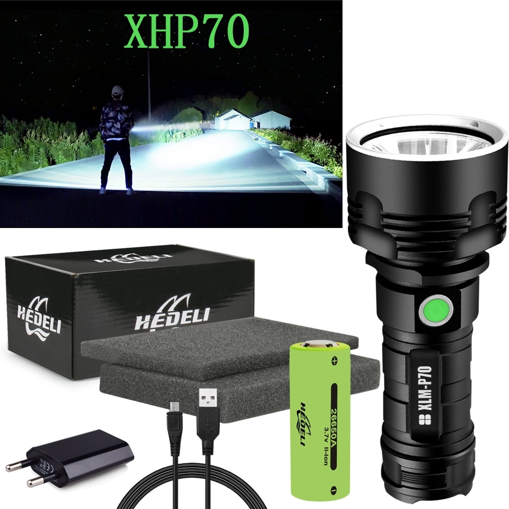 300000 lm most powerful led flashlight torch cree xhp70 tactical flashlights XML L2 usb rechargeable