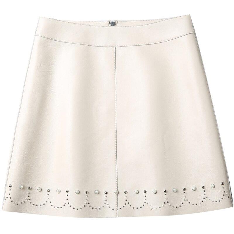 autumn and winter Fashion casual plus size brand female women girls Genuine Leather mini skirts clothing