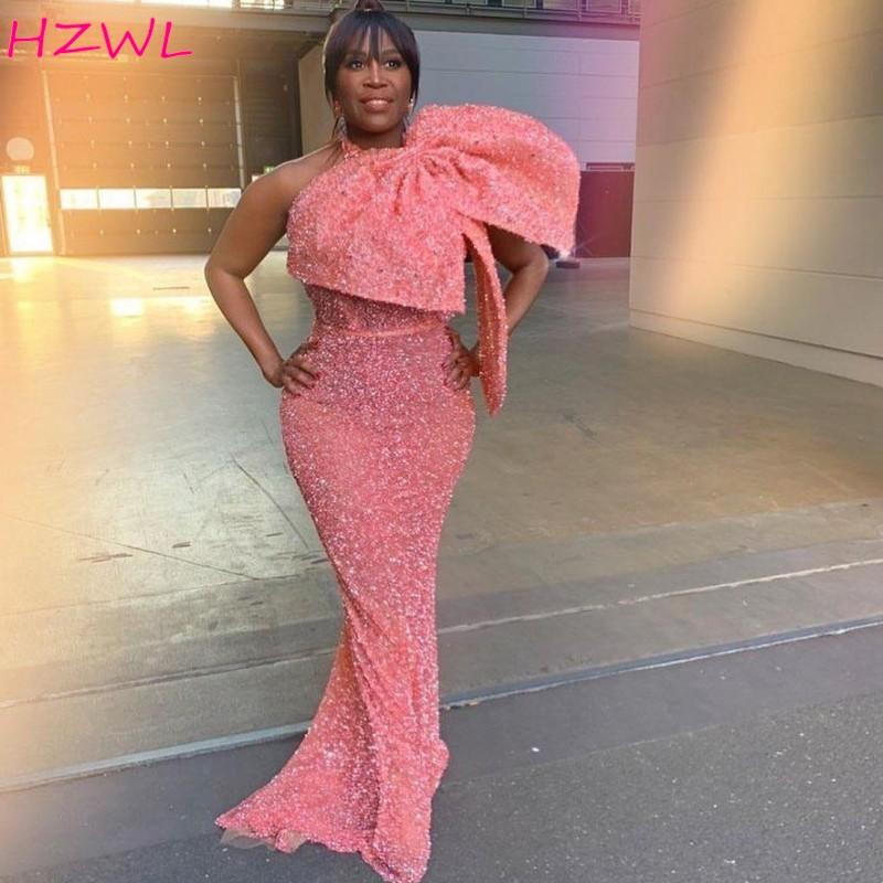Aso Ebi-فستان سهرة وردي ، مثير ، حورية البحر ، ترتر ، مع فيونكة كبيرة ، ملابس رسمية ، 2020-2021