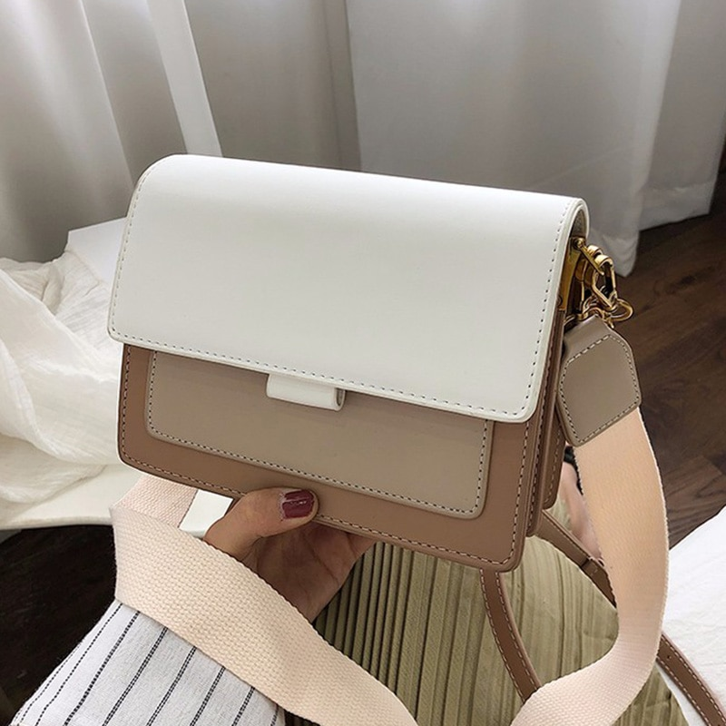 Contrast color Leather Crossbody Bags For Women 2021 Travel Handbag Fashion Simple Shoulder Simple B