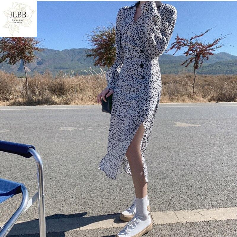 Женское платье с леопардовым принтом, новое весеннее платье с V-образным вырезом и V-образным вырезом, платье с леопардовым принтом