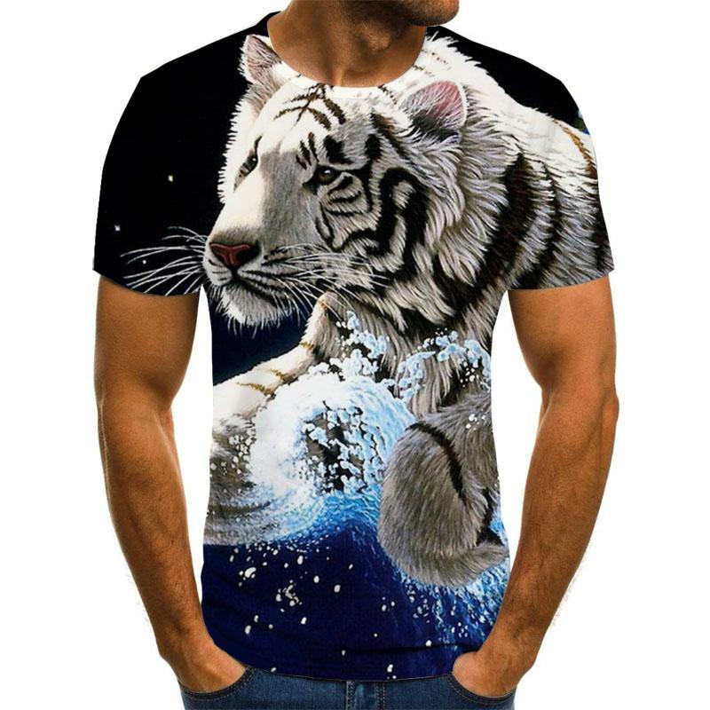 Лето 2020 Новый 3D печатных футболка с анималистичным принтом Мужская футболка с принтом, Повседневная футболка с круглым вырезом в стиле «хип-хоп» с воротником и несколькими пуговицами, с коротким рукавом, размера 110-6XL