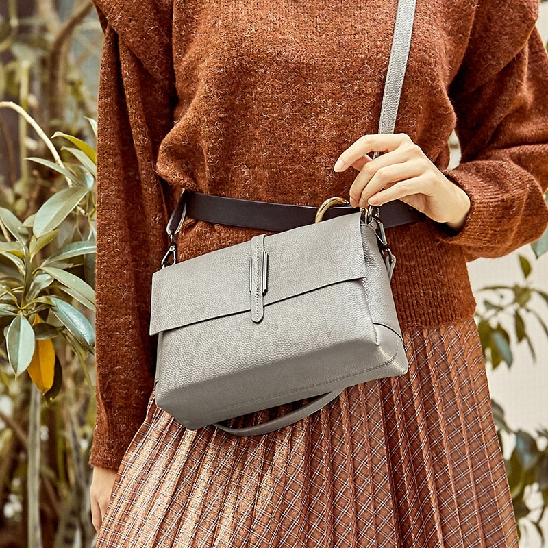 Women's New Style Cowhide Handbags European and American Fashion Underarms Top Layer Cowhide Small Square Bag Women's Bag Single