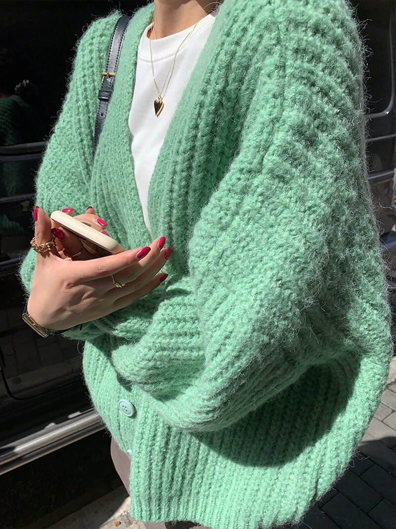 Autumn Sweater Women's Knitted Fashion Vintage Cardigan Casual Long Sleeve Solid Single Breasted Knitwear Sueter De Mujer Coat