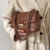 2021 fashion new branded trending pu leather womens designer handbag and purses chain lattice square shoulder crossbody bag