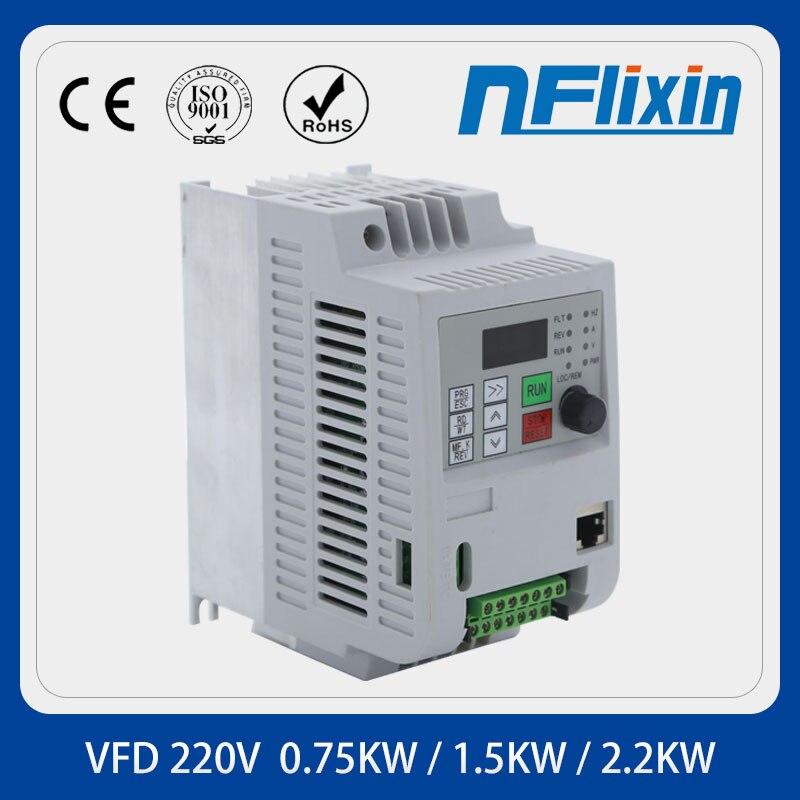 العالمي VFD تردد سرعة تحكم 1.5KW/2.2KW 10A 220 فولت تشغيل محرك التيار المستمر مرحلة واحدة في ثلاث مراحل خارج متغير العاكس