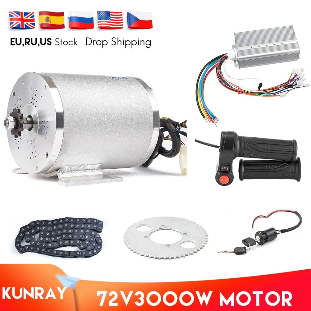 1Set Electric Motor 72V 3000W Brushless Motor Controller 48V - 72V 50A Reverse Twist Throttle Power Ignition Lock Scooter Kit