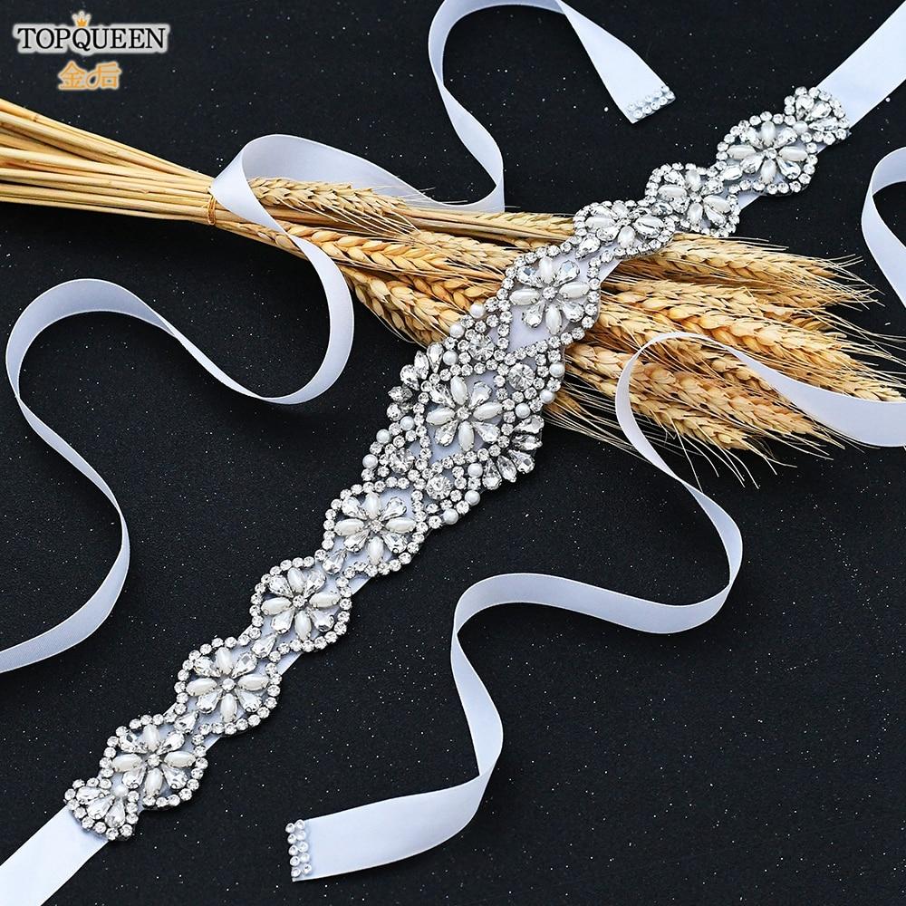 TOPQUEEN Wedding Belt Ivory Silver Rhinestone Belt Belt Accessories for Bride Crystal Formal Belt Red Gown Sash Bride Belt S161
